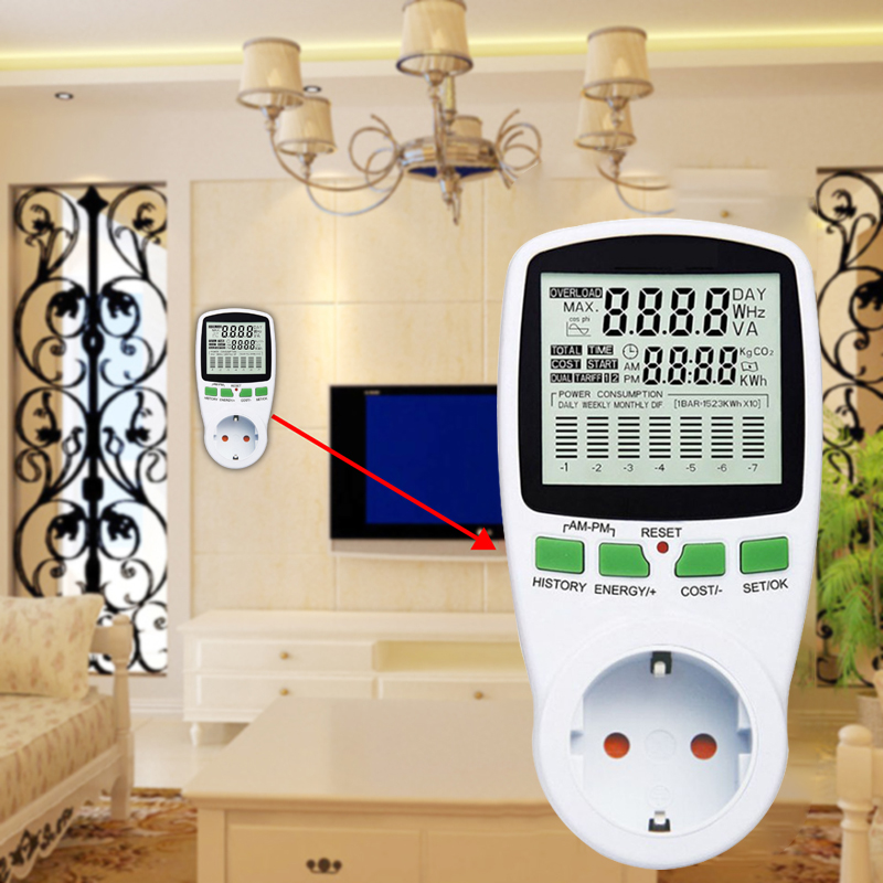 Digital LCD Energy <font><b>Meter</b></font> Wattmeter Wattage <font><b>Electricity</b></font> Kwh Power <font><b>Meter</b></font> EU French US UK AU Measuring Outlet Power Analyzer image