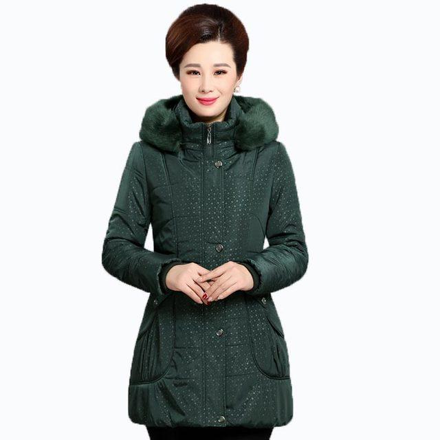 Nova chegada mulheres de meia idade casaco de algodão fino engrossar jaqueta de inverno médio e longo casaco com capuz grande gola de pele falso casaco kp1301