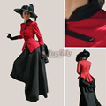 Customized Southern Belle Red and Black Medieval Gothic Victorian Rnaissance Costume  Adult Women's Cosplay Costume D1127