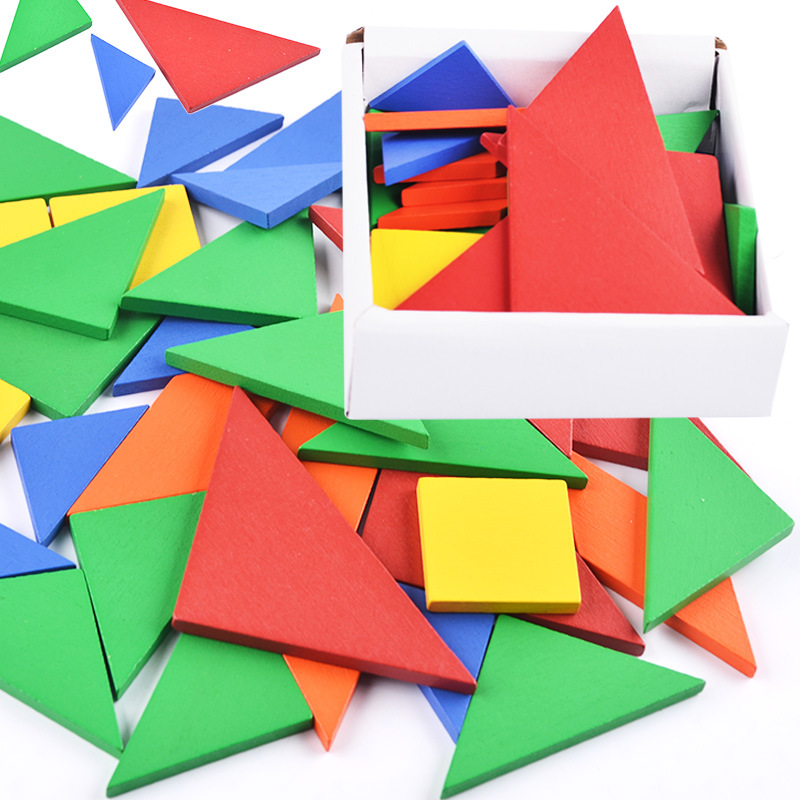 Color Changed Puzzle Wooden Toys Baby Play Junior Tangram Learning Set 32 piece