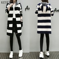 Hooded winter knitted sweater cardigan female Long sleeve loose striped jumper 2018 casual autumn sweater women Plus size XL 5XL