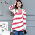 XXXL 4XL Plus Size T shirt Women Long Sleeve 2017 Spring Autumn Fashion O-neck Long Sleeve Loose Casual Asymmetry Striped Tshirt