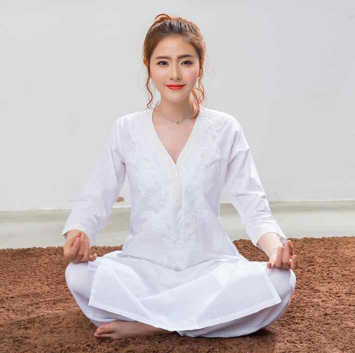 India Traditional Woman Yoga Costume Cotton Hand-made Embroidery Top Thin Kundalini White Top