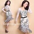 Envío gratis 2016 verano nueva Vintage Sexy encaje blanco negro flores de cintura alta O cuello longitud de la rodilla de la borla Irregular vestido delgado