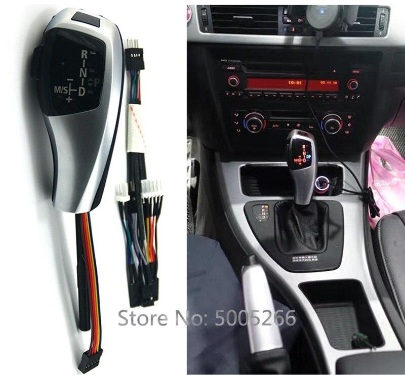 Pommeau de levier de vitesse de LED automatique de voiture pour BMW E39 E53 E46 E60 E61 E90 E92 E93 E87 commande de levier de vitesse de poignée automatique LHD noir argent