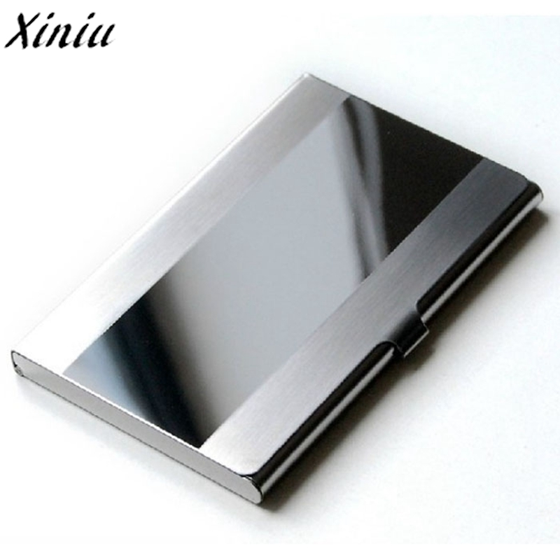 Card Holder Stainless Steel Silver Aluminium Credit Card Case Women Wallets Nueva Vogue Men ID Card Box Cartao De Visita #7217 business card holder women vogue thumb slide out stainless steel pocket id credit card holder case men