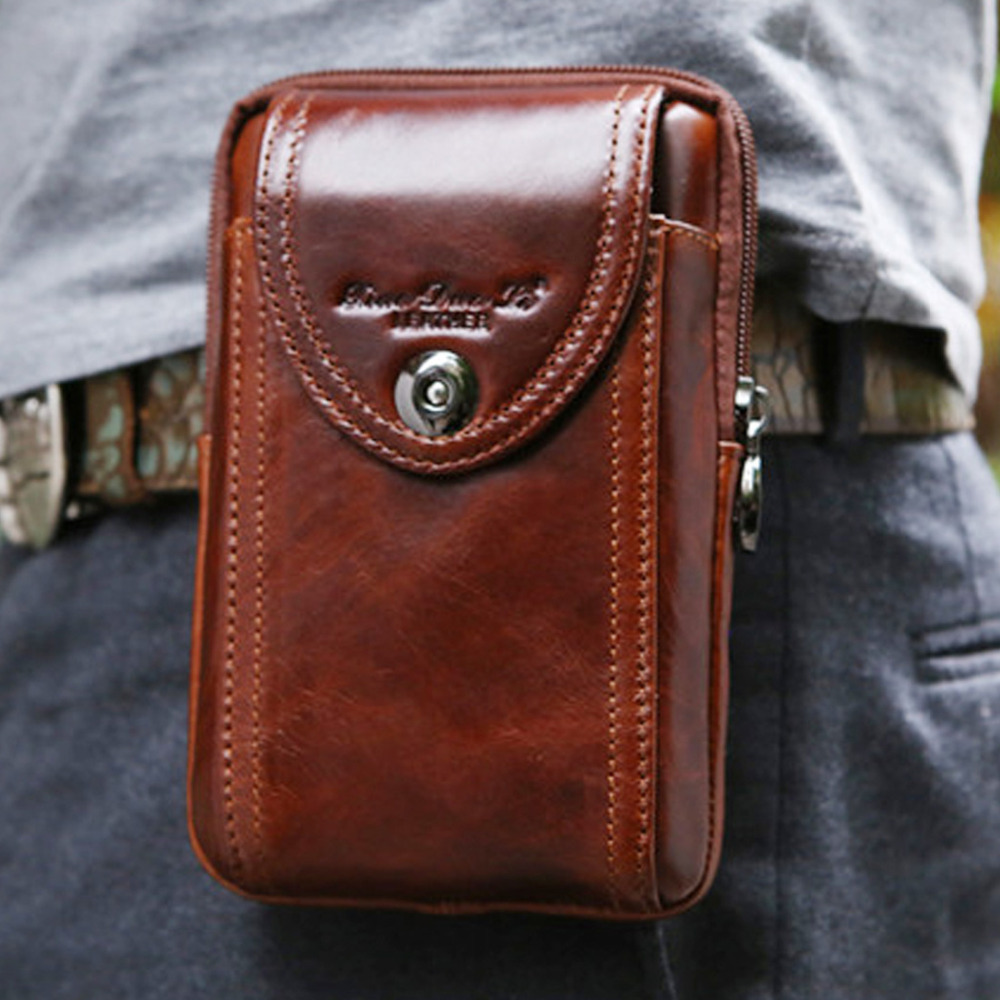 New Men's Original Leather Cowhide Vintage Belt Fodral Purse Fanny Pack Waist Bag För Cell Mobil / Telefon Fall Cover Skin