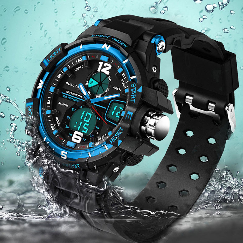 SANDA Fashion Sport Watch Men Top Brand Luxury Famous Electronic LED Digital Wrist Watches For Men Male Clock Relogio Masculino sport student children watch kids watches boys girls clock child led digital wristwatch electronic wrist watch for boy girl gift