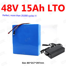 GTK LTO 48V 15AH Lithium titanate battery 30A BMS 20S LTO for 1000W 750W bike scooter bicycle AGV bakfiets vehicle +5A charger(China)