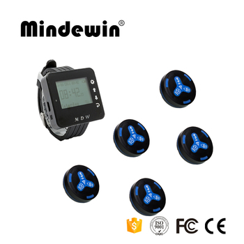 Mindewin 433MHz Wireless Calling System 5pcs Call Transmitter Button + 1pc Watch Receiver for Hospital Hotel Paging System