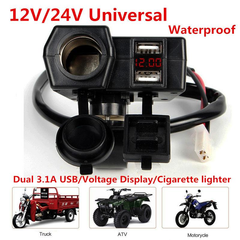 Motorcycle 12V Waterproof Cap 20mm Cable Ciga Double 2 Way Power Socket