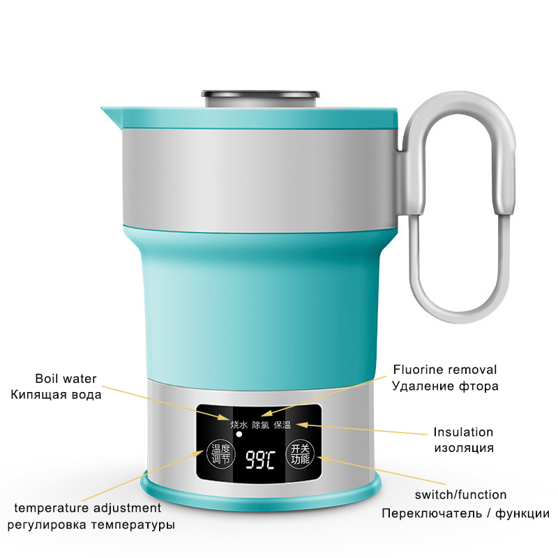 110 240V Electric Water Kettle Silicone Foldable Travel Water Kettle Portable Collapsible Water Boiler Temperature Adjustment in Electric Kettles from Home Appliances