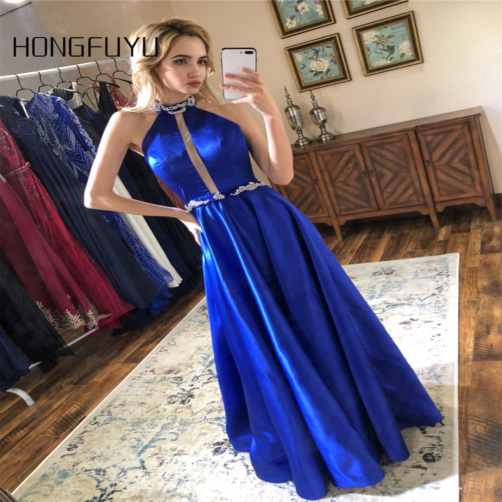 New Fashion Prom Dresses Satin A-Line Halter Backless Sparkly Prom Dress 2018 Elegant Vestido de Festa Long Evening Party Gowns