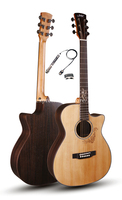 Cutaway 40 Acoustic Guitars With Tail nail pickup,Solid Spruce Top/Rosewood Body guitarra eletrica With Pickup +20mm cotton