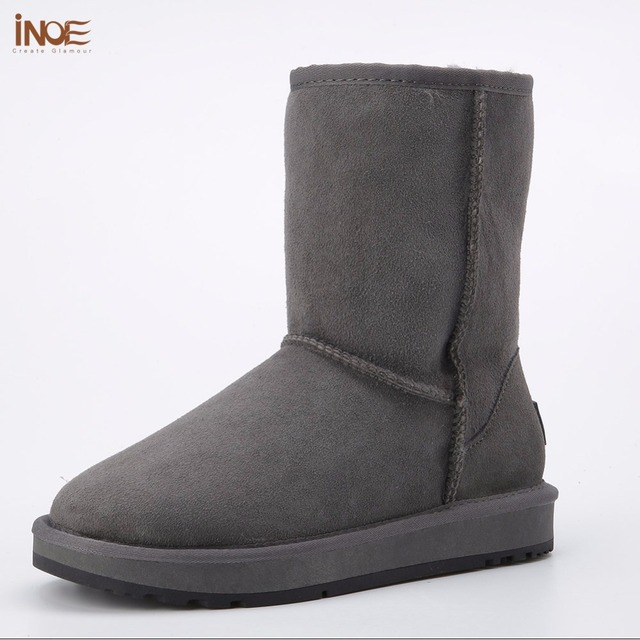 INOE real sheepskin leather suede man winter snow boots for men sheep fur lined winter shoes high quality brown black gray 35-44