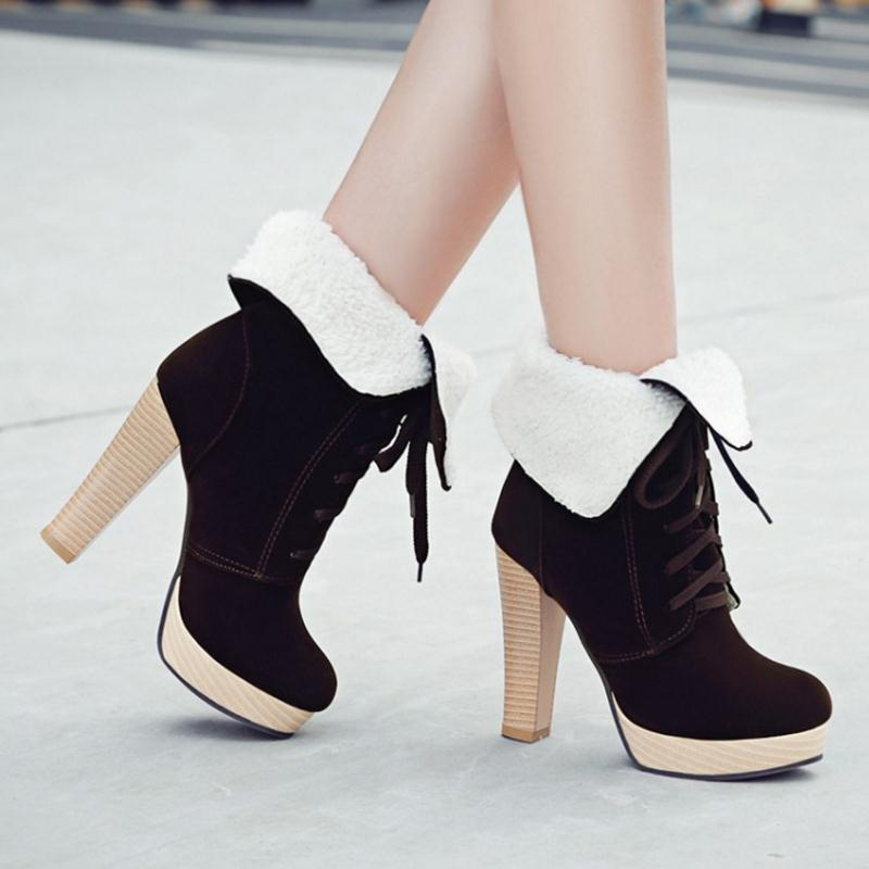 Women Sexy Thick Heel Mid Calf Boots Woman Pointed Toe Lace Up Martin Boot Fashion Brand Autumn Winter Heels Shoes Size 34-45