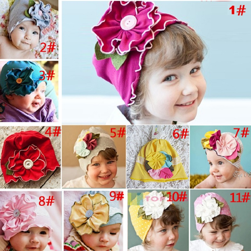 New Baby Girls Hats Children beanie Berets Infant Caps Flower Cotton Hat For Girl Bonot Balaclava Bucket Sun hat Soft 13 Colors