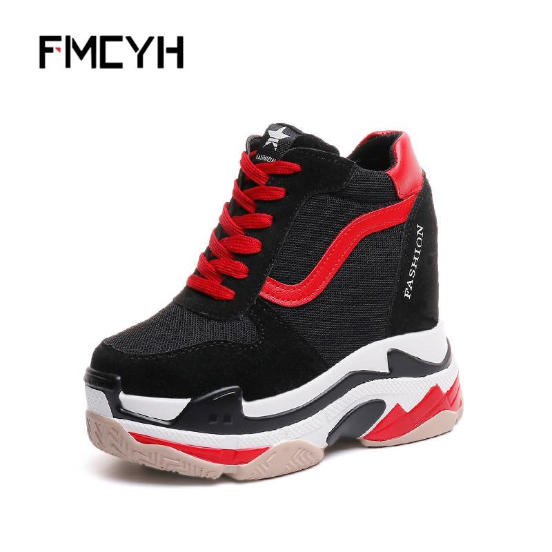 FMCYH Woman Sneakers Mesh Wedge Platform Shoes Black 2018 Spring Autumn Ladies Casual Shoes Womens High Heels Footwear Krasovki