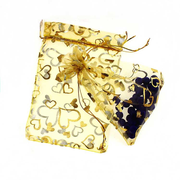 15*20cm 50pcs Gold  Gold Heart Gift Bags For Jewelry/wedding/christmas/birthday Yarn Bag With Handles Packaging Organza Bags
