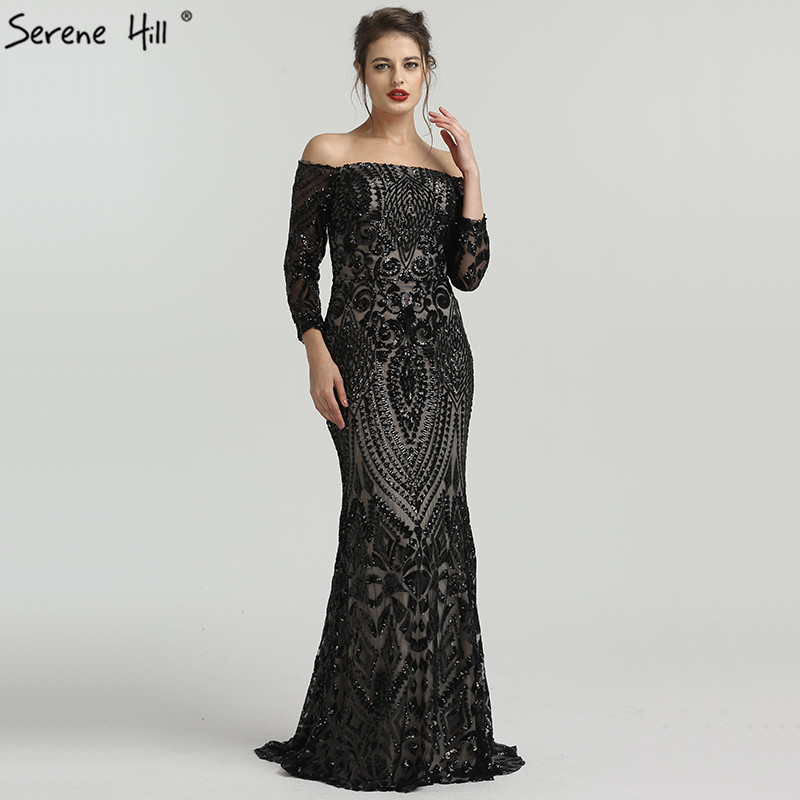 Black Long Sleeve Off Shoulder Sequined Evening Gowns Fashion Mermaid Elegant Sexy Formal Evening Dress 2019 Real Photo BLA6476