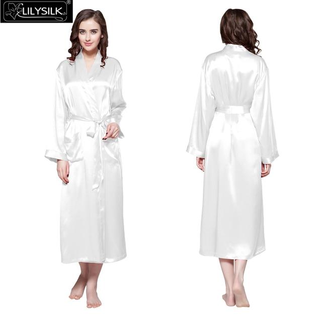 d9da88e508 Lilysilk Robe Female 100% Pure Silk Kimono Long Women Wedding Bride 22 Momme  Satin Long