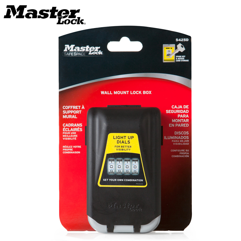 Master Lock Key Safe Box Outdoor Wall-mounted Keys Storage Box Night Glowing 4 Password Lock Security Organizer Boxes 5425D