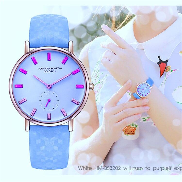 Hannah Martin Women Wristwatch Fashion Quartz Watch Girl UV Change ...