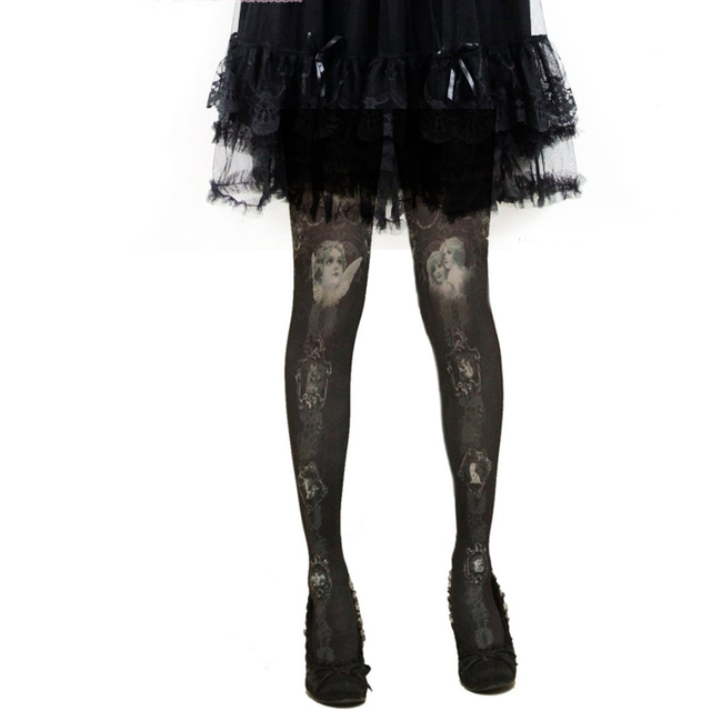 Black Angels Oil Paintings Printed Opaque Tights 80d Womens Girls