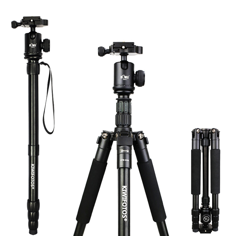 Kiwi KTB-1444 Professional Portable Lightweight Durable Tripod Monopod Ball Head SLR DSLR Camera Tripod Fold 14 Max Load: 15kg zomei z888 portable stable magnesium alloy digital camera tripod monopod ball head for digital slr dslr camera