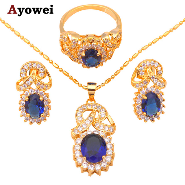Fashion Jewelry Gold Tone Blue Crystal Zircon Best Quality Earrings Necklace Ring Sz 8