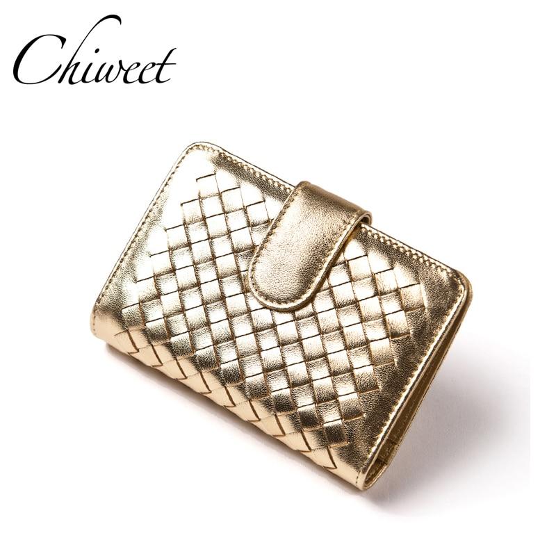 Gold Women Wallets Luxury Brand Designer Purse Real <font><b>Genuine</b></font> Leather Women Small Short Wallets Ladies Female Money <font><b>Clip</b></font> Wallet