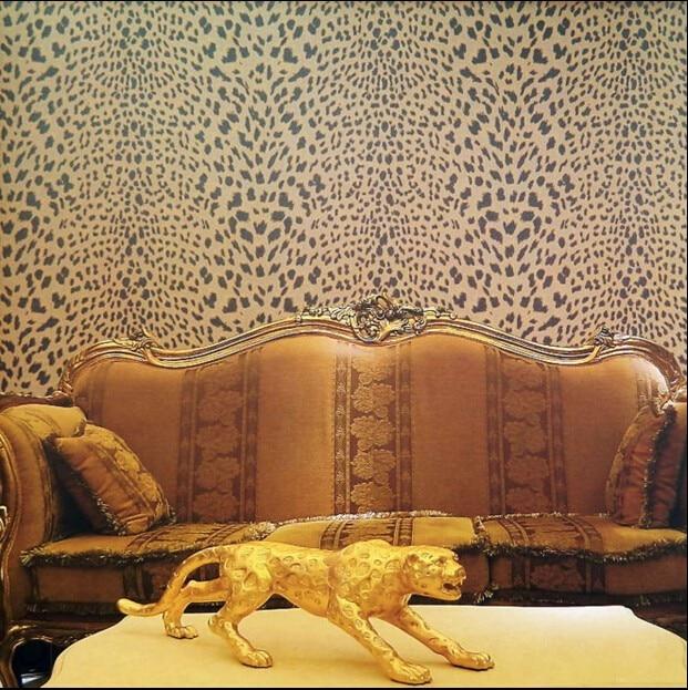 US $55.8  Neue klassische postmodernen leopard tapete Braun gold eindruck  schwarz spotted VISUS stoff TV wand dekor vintage schlafzimmer in Neue ...