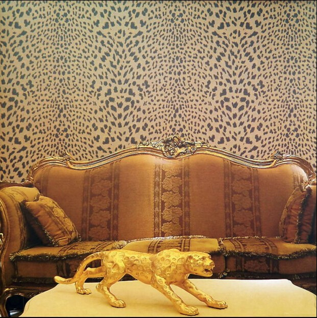 New classical postmodern leopard wallpaper Brown gold impression black spotted VISUS fabric TV wall decor vintage bedroom