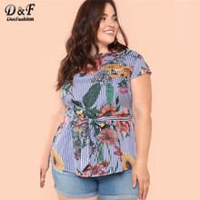 f8a2780f5 Dotfashion Plus tamaño corbata azul Floral rayas para Mujer Tops y blusas  de verano 2019 Casual coreano de moda camisa de manga