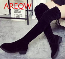 2016 women's black flat-bottomed knee-length boots with low-heeled boots long boots B1