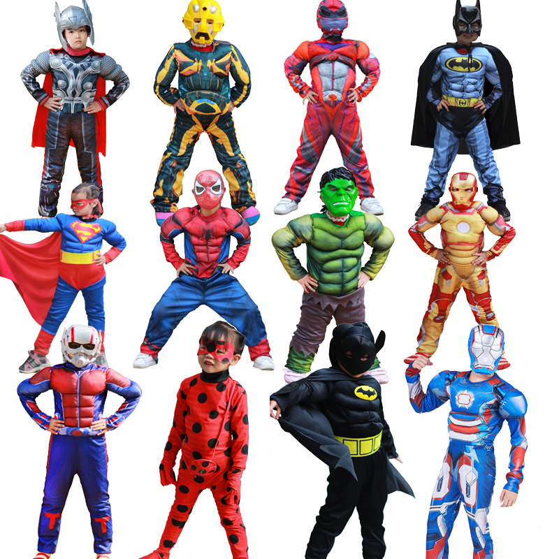Spiderman Superman Iron Man Cosplay Costume for Boys Kids Carnival Halloween Costume Muscle Super Hero Captain America Costume