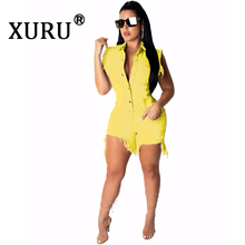 XURU summer new womens denim jumpsuit street fashion casual hole pants wash multi-button shorts