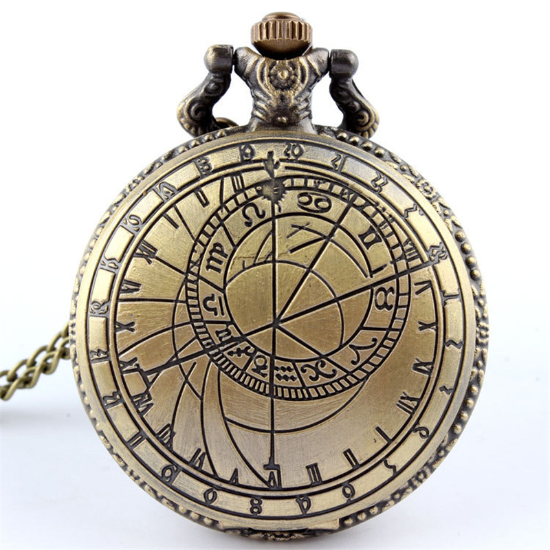 Vintage Bronze Pocket Watch Men Doctor Who Design Ladies Mens Accessory Necklace Chain Pendant Quartz Pocket Watches Clock Male