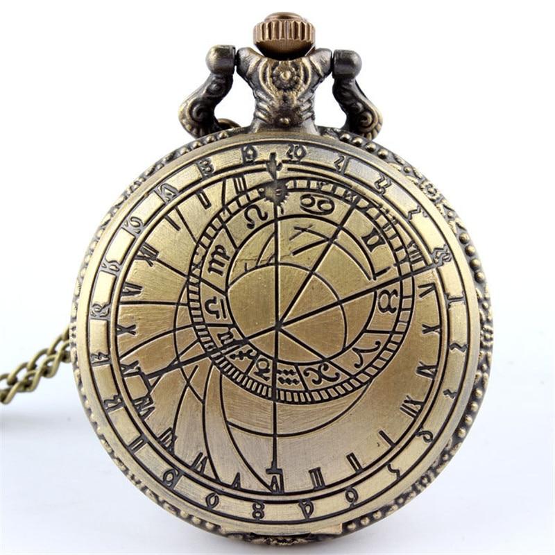 Vintage Bronze Pocket Watch Men Doctor Who Design Ladies Mens Accessory Necklace Chain Pendant Quartz Pocket Watches Clock Male