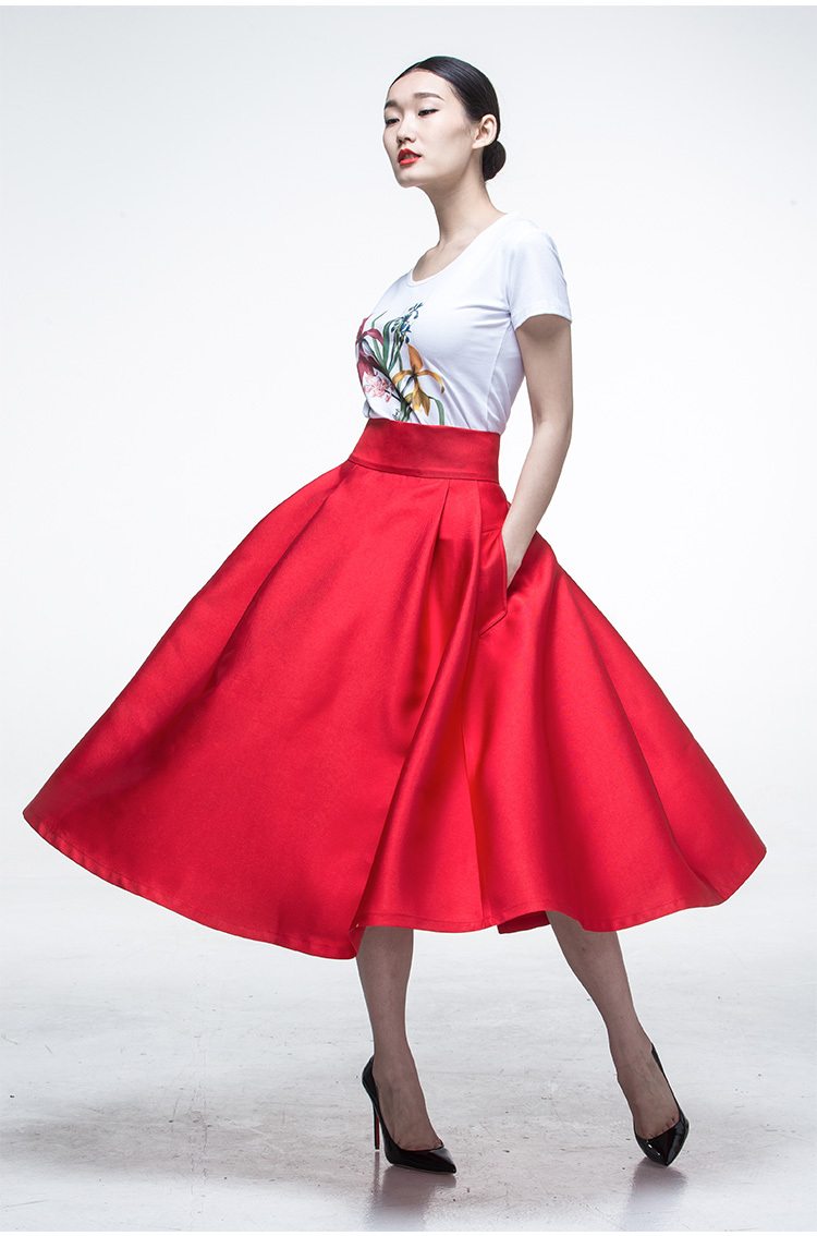 d6ba6740436 summer women 50 s Inspired vintage retro red high waist rockabilly swing  midi skirt big plus size