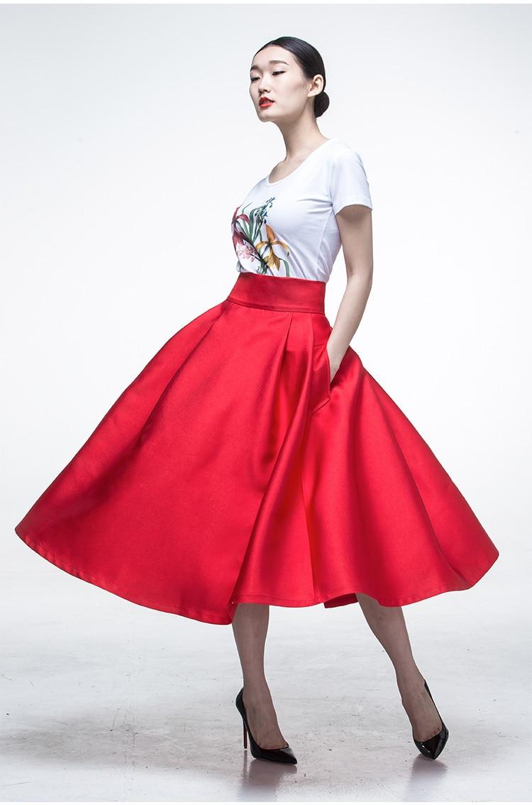 1cb9bbf3a0 Mujeres del verano inspirado vintage retro rojo de la alta cintura  rockabilly swing falda de midi grandes tallas casual saia femininas faldas  en Faldas de ...
