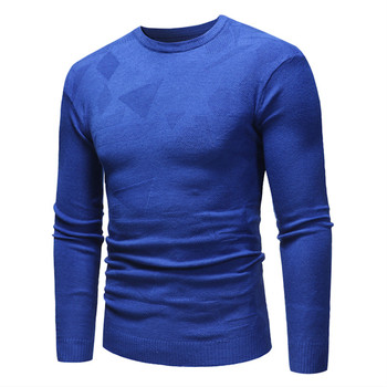 Sweater Men's Winter Solid Color O-Neck Geometric Pattern Knit Pullover / male Slim Long Sleeve High Quality Cotton Sweater цена 2017