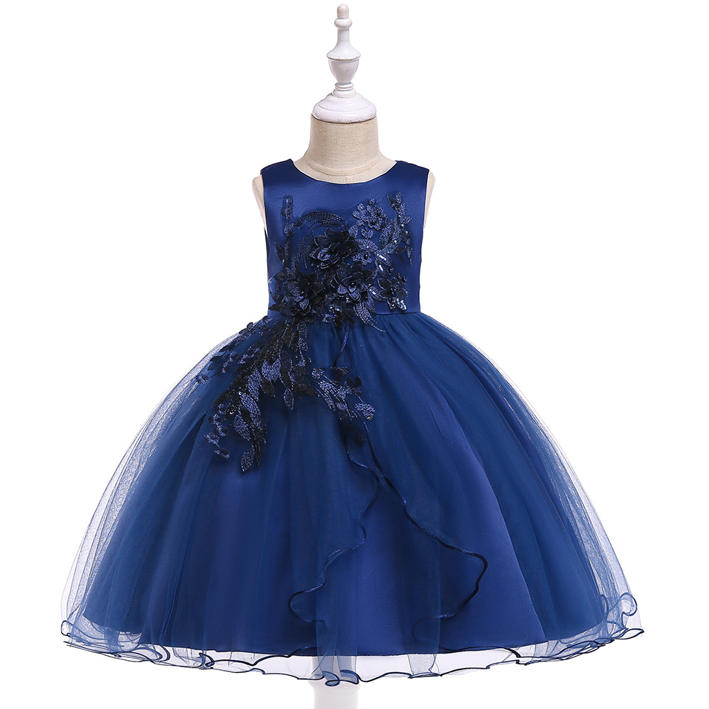 Cheap Royal Blue Little   Girls   First Communion Appliques   Flower     Girl     Dresses   Gowns Tulle Kids   Girl   Wear Gowns