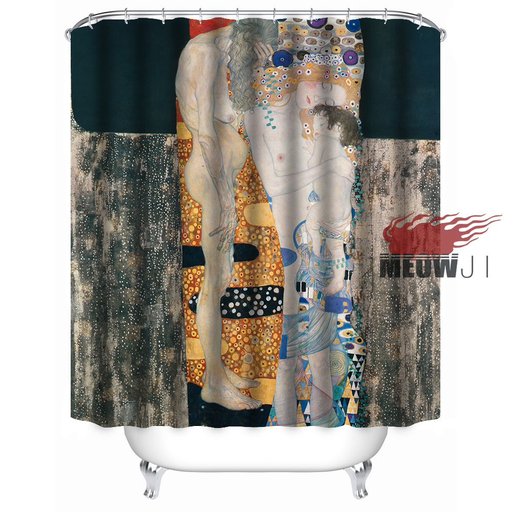 art european luxury oil painting vintage custom shower curtain bathroom decor various sizes free shipping