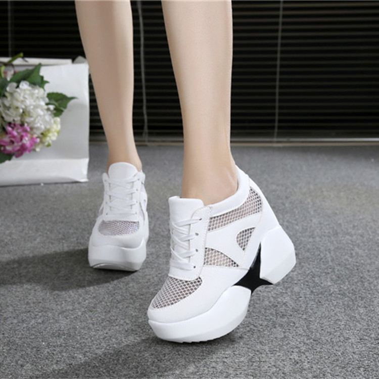 Women Casual Shoes Mesh Height Increasing Breathable Wedges Women Walking Flats Trainers Shoes Platform Dropshipping