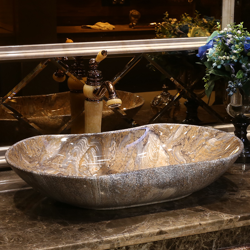 Oval Chinese Antique Stone Ceramic Sinks China Wash Basin Ceramic Counter  Top Wash Basin Bathroom Sinks Sink Bowls On Top Of Vanity32
