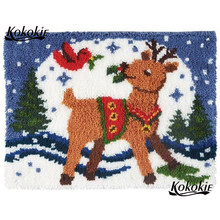 latch hook kits rug printed canvas accessories diy Christmas deer decor needle for carpet embroidery pattern latch hook kussen(China)