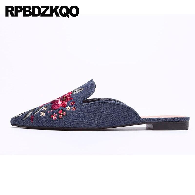 Women Flat Satin Shoe Casual Pointed Toe Slip On Flower Decor Sweet Pumps Loafer