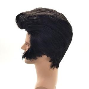 Image 2 - Peluca de cosplay para hombre, cantantes de Rock, Elvis Presley Aron, peluca de pelo de fiesta sintética negra de Elvis Presley + gorro de peluca