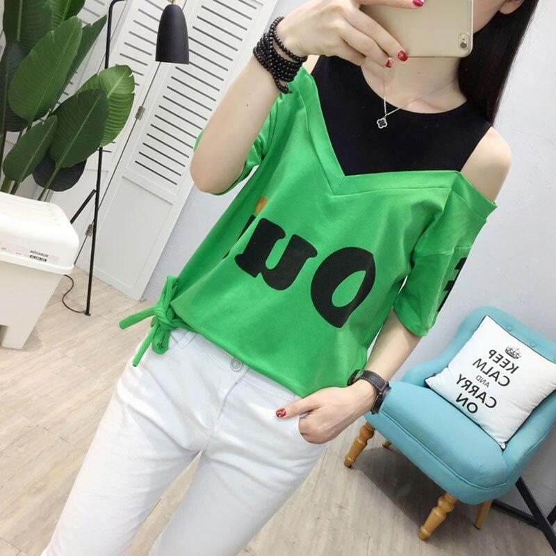 Women T Shirt Off Shoulder Summer Top For Women Short Sleeve kawaii plus size T-Shirt Women O- Neck Cotton funny t shirts White